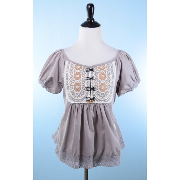 New Womens Ladies grey Odd Molly GREY Pure Cotton Embroidered Babydoll dress